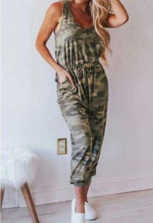 Camo Printed Casual Tank Jumpsuit