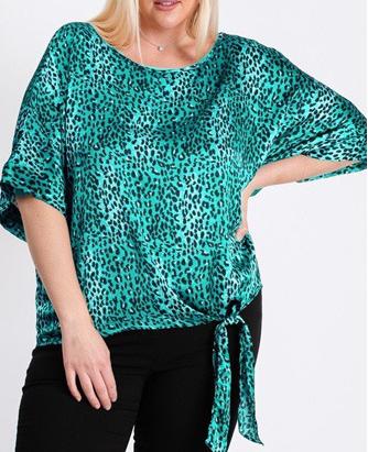 Green Leopard Print Woven Top