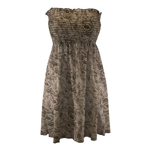 Strapless Knee Length Smocked Top Tube Dress