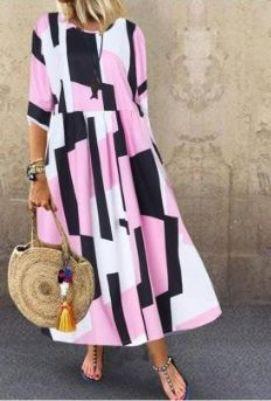 ZANZEA Pink Printed 3/4 Sleeve Kaftan Dress