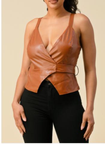 PU Leather Wrap Top