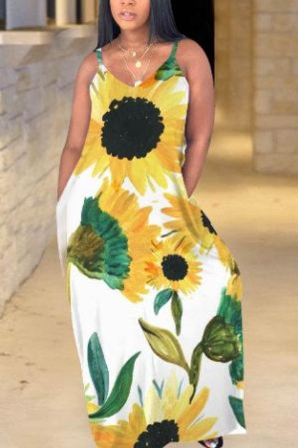 Bohemian Sunflower Print Maxi Dress