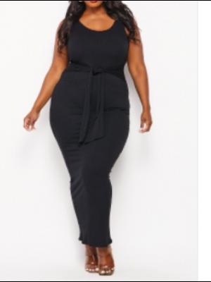 Black Sleeveless Front Tie Tank Dress