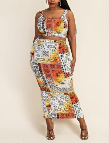 Orange Cami Crop Top and Skirt Set