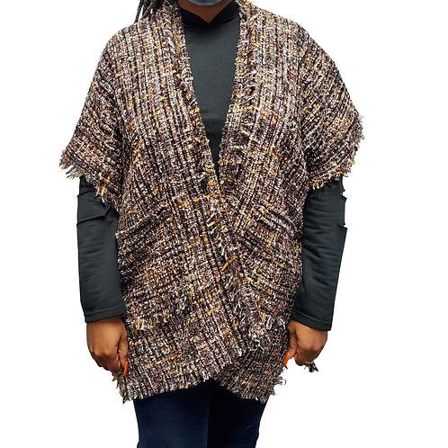 Tan/Black Open Front Kimono