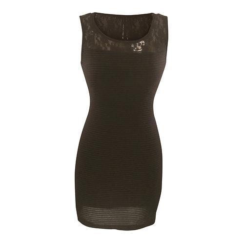 Sleeveless Lace Sheer Shouldered Mini Tank Dress