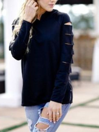 Long Sleeve Hoodie with Cutout Accents