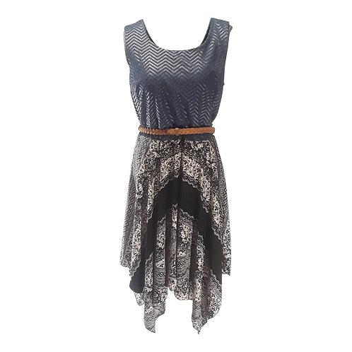 Fitted Waist Flowy Dress with Belt