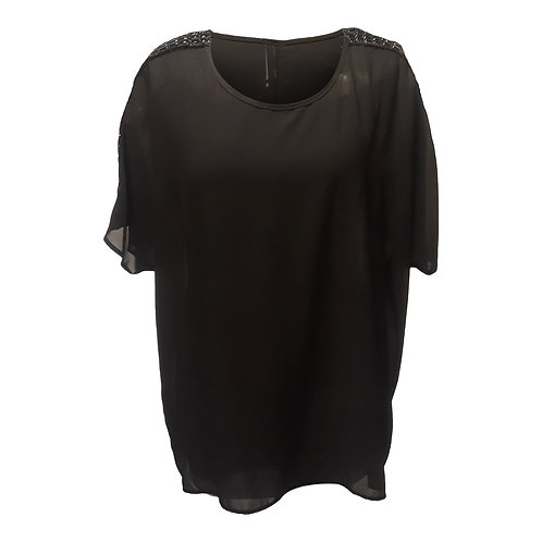Short Sleeve Top with Decorated Shoulders