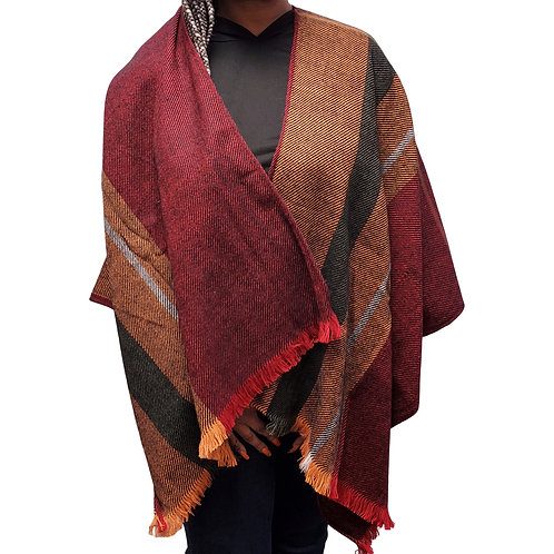 Orange/Black Color Block Wrap Shawl