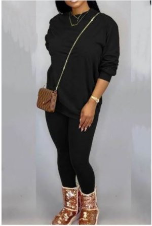 Black Long Sleeve Round Neck Pants Set