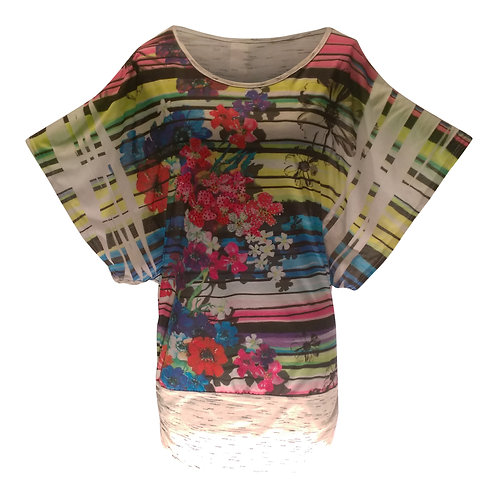 Floral Wing Sleeved Crew Neck Tunic with Border