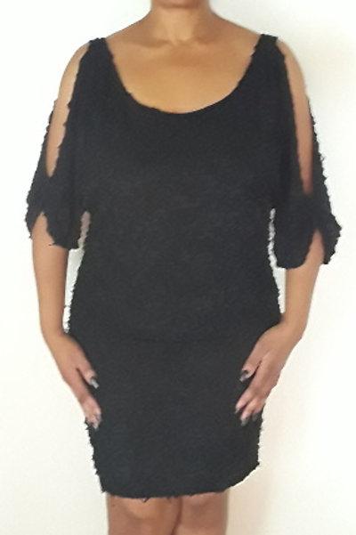 Solid Scoop Neck Cold Shoulder Dress
