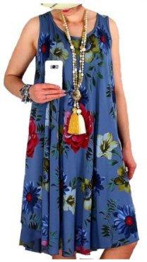 Blue Sleeveless Floral Print Swing Dress