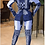 Thumbnail: Blue Long Sleeve V Neck 2 Piece Pants Set