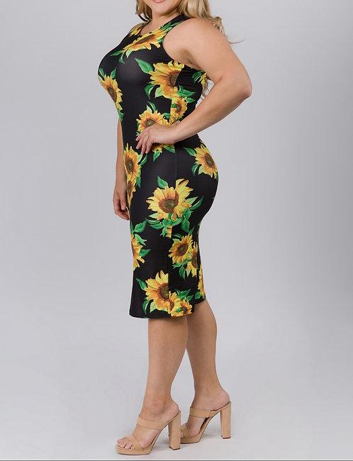 Sunflower Bodycon Print Dress