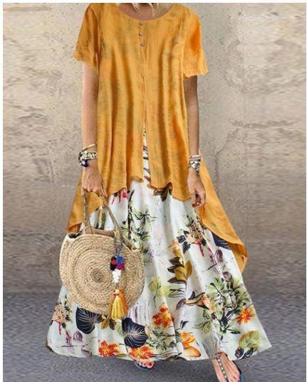 Yellow Bohemian Beach Ankle Length Dress