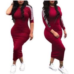 Half Sleeve Striped Side Casual Bodycon Dress