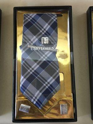 Blue Tartan Tie and Cufflink Set