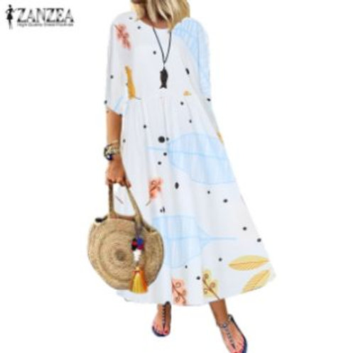 ZANZEA Beach Floral Print 3/4 Sleeve Dress