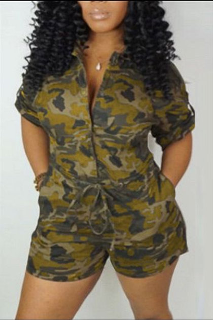 Casual Drawstring Waist Camouflage Romper