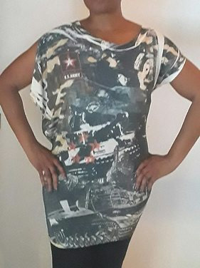Army Print Uneven Sleeved Tunic