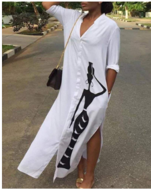 White Front Figure Loose Fit Dress
