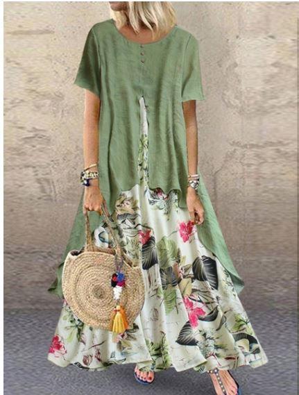 Green Bohemian Beach Ankle Length Dress
