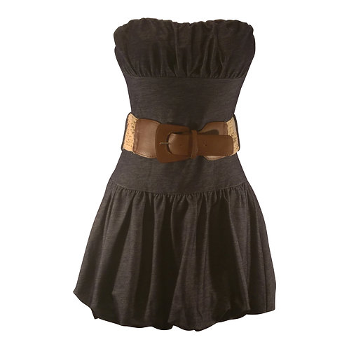 Strapless Denim Bubble Mini Dress with Belt