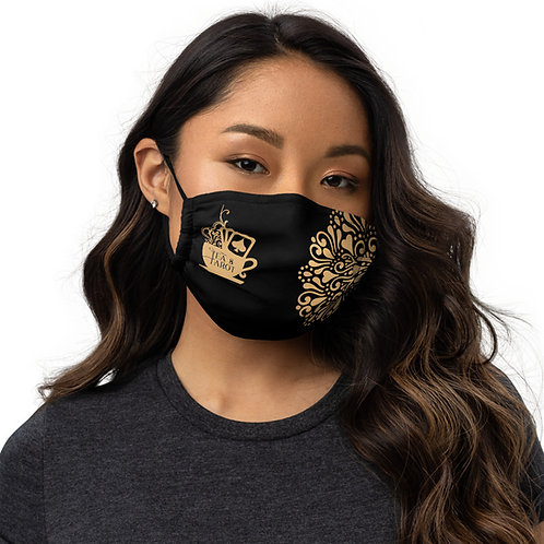 Black and Gold Tea & Tarot Logo Face mask