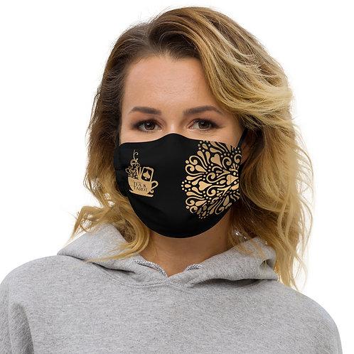 Black and Gold Tea & Tarot Logo Face mask