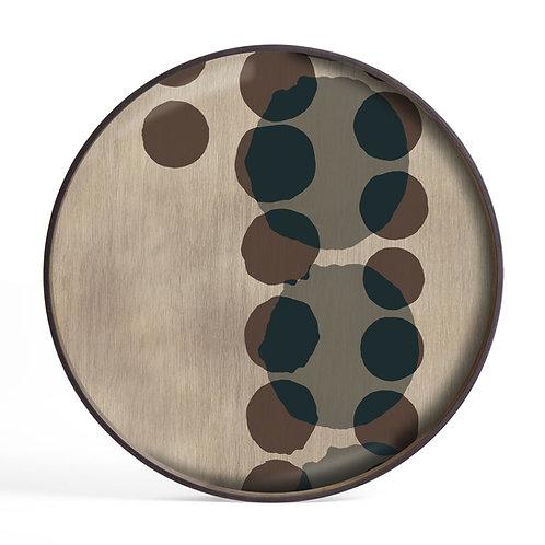 Slate Layered Dots Glass Round Tray