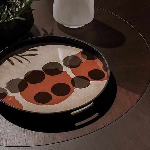 Pinot Layered Dots Glass Round Tray