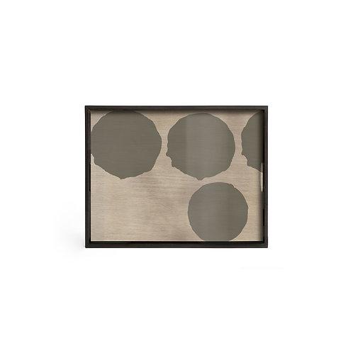 Silver Dots Glass Rectangular Tray