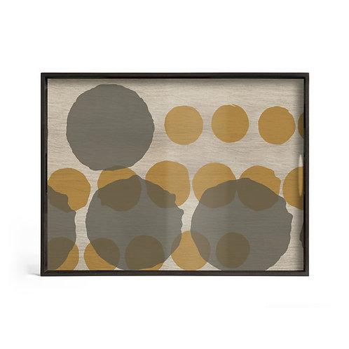 Sienna Layered Dots Glass Rectangular Tray