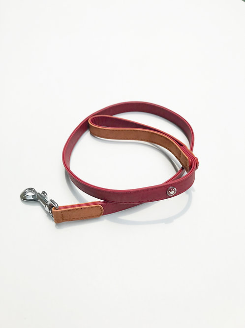 Soft Leather Leash (Red & Tan)