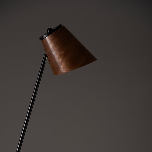 Side Walnut Floor Lamp