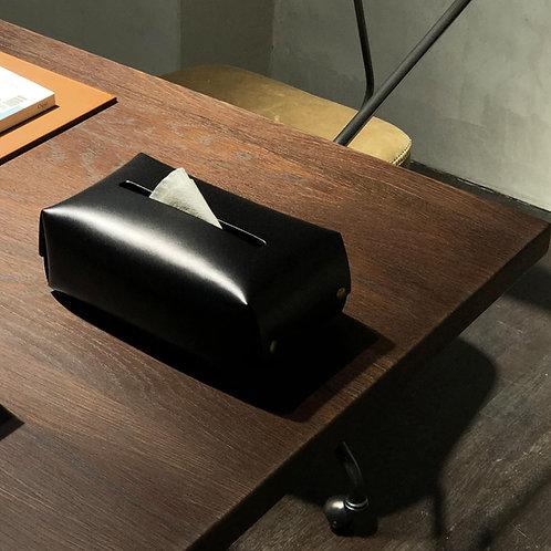 Leather Tissue Box (Black)