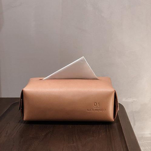 Leather Tissue Box (Tan)