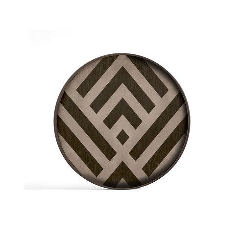 Graphite Chevron Wooden Valet Round Tray