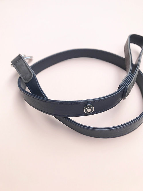Soft Leather Leash (Blue & Grey)