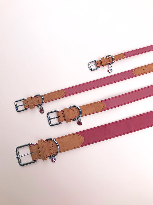 Soft Leather Collar (Red & Tan)