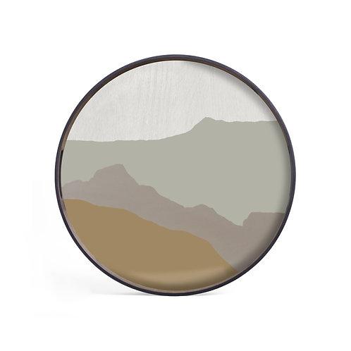 Sand Wabi Sabi Glass Round Tray