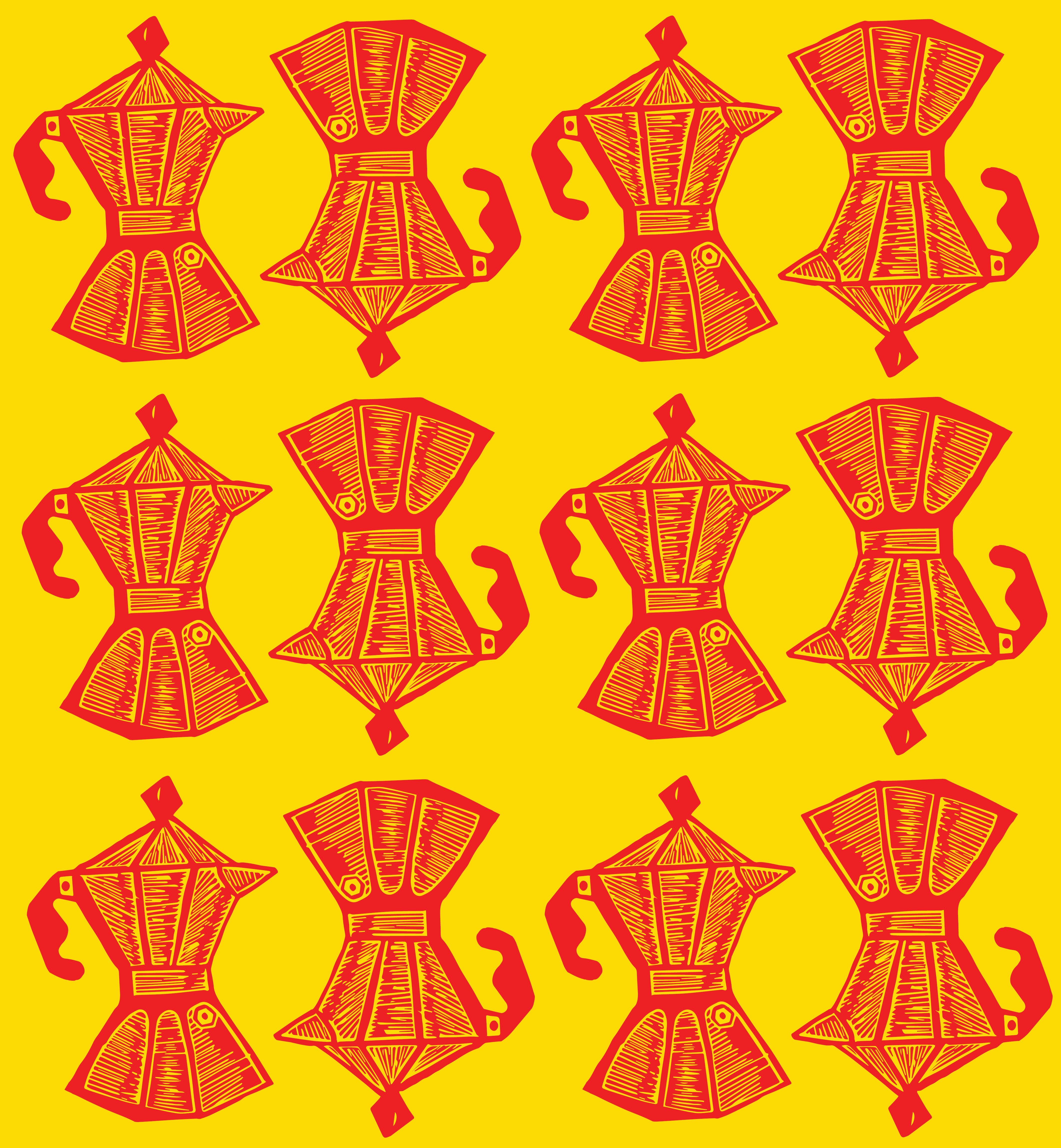 Cafeteras Pattern Red + Yellow