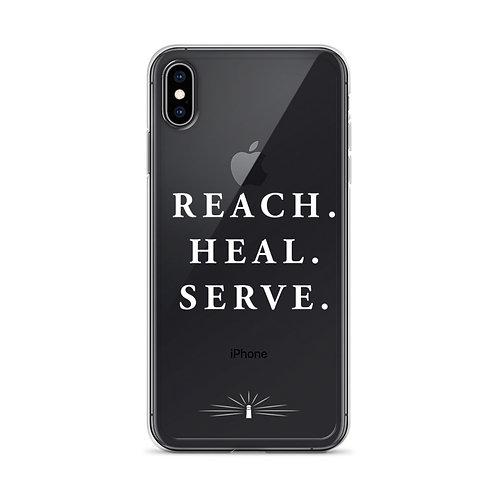 White REACH. HEAL. SERVE. iPhone Case