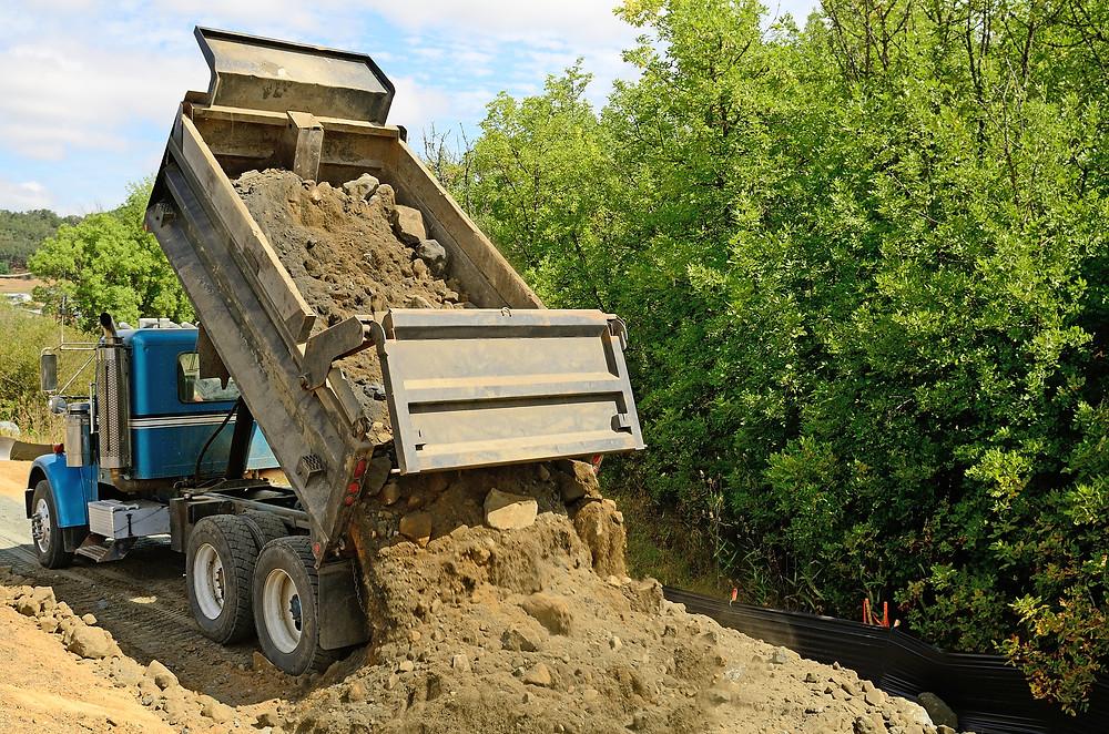 Class B Dump Truck, Rocks, Truck Day Cab,