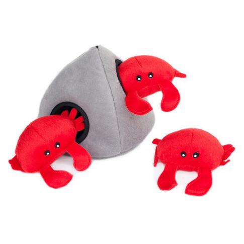 Crab 'n Rock Squeaky Plush Hide Seek Interactive Dog Toy