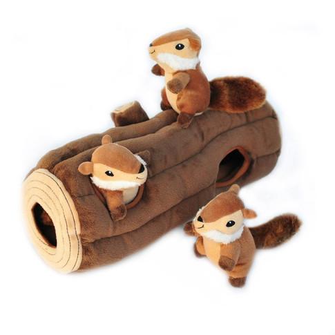 Chipmunks Squeaky Hide and Seek Plush Dog Toy