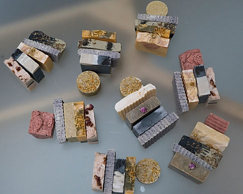 soap arranged into gift bundles