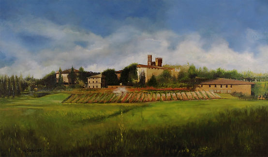 Tuscan Farm // Oil on Canvas 36x18""